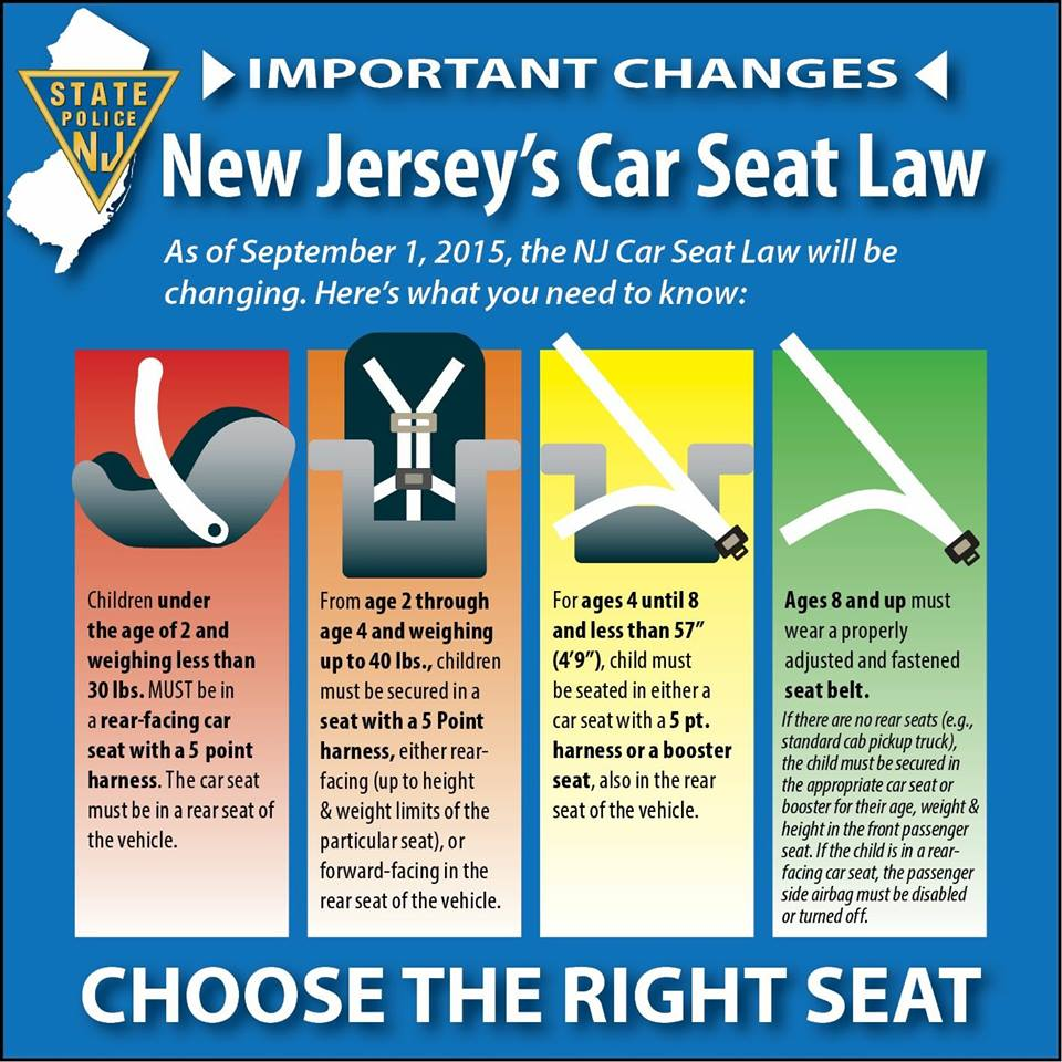 New Jersey Child Seat Laws Changed on Effective September 1st 2015